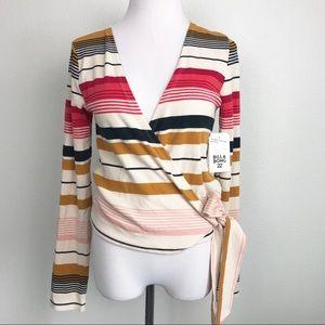 Billabong Striped Long Sleeve Wrap Top